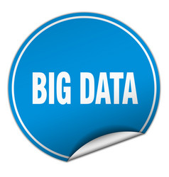 Big data round blue sticker isolated on white vector
