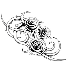Black and white roses tatto vector