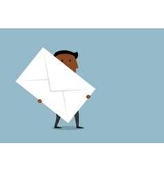 Cartoon businessman carrying a large letter vector