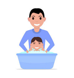 Cartoon father bathes a baby vector