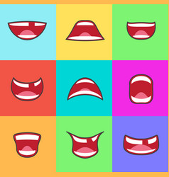 cartoon kids smile happy children mouth set design vector image