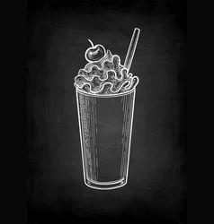 chalk sketch milkshake with whipped cream vector image