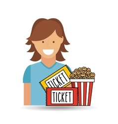 Cheerful girl cinema icon pop corn ticket design vector