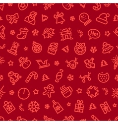 Christmas Symbols Seamless Pattern Red vector image