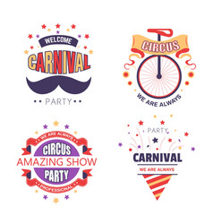 circus show and carnival party isolated icons fair vector image