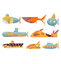 collection submarines undersea cute cartoon vector image