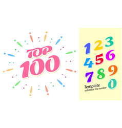 Color fireworks template with numbers - tor 100 vector