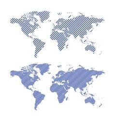 Dark blue striped maps of world vector