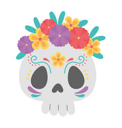 day dead sugar skull catrina with flowers vector image