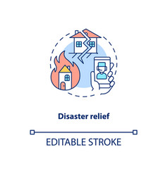 Disaster relief concept icon vector