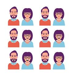 Facial expressions woman and man vector