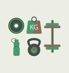 fitness equipment flat design vector image