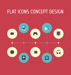 Flat icons monitor microprocessor slot machine vector