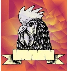 Geometric New Year background Rooster design vector image