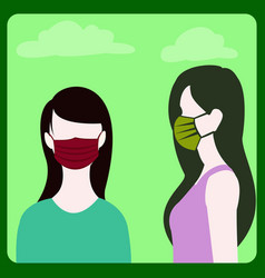 Girls wearing a maskto prevent diseasefor safety vector