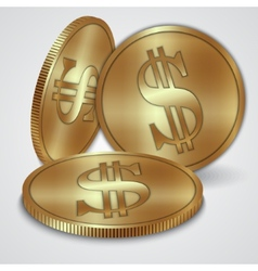 gold coins with dollar currency sign vector image