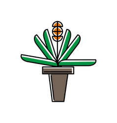green plant in pot icon in linear style vector image