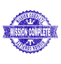 Grunge textured mission complete stamp seal with vector