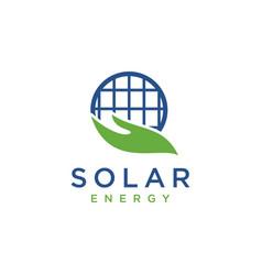 hand and solar globe eco friendly energy logo vector image