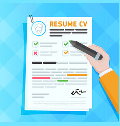 Hand filling resume form vector
