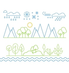Handdrawn Landscape in Linear Style vector