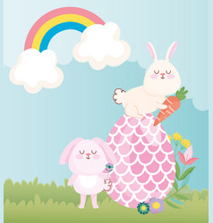 happy easter rabbits with big egg flowers rainbow vector image