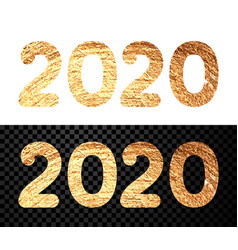 Happy new year 2020 sign with golden shiny letters vector