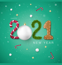 happy new year 2021 creative festive lettering vector image