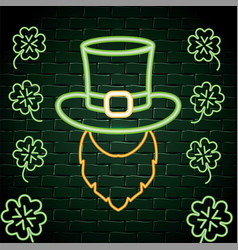 hat with beard and clovers neon label vector image