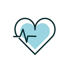 Heartbeart cardiology equipment medical icon line vector