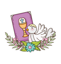 Holy bible book with dove bird vector