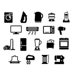 Home appliances black icons set vector image