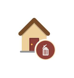 House with trashcan inside flat ar icon vector