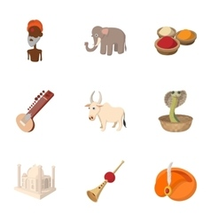 India icons set cartoon style vector