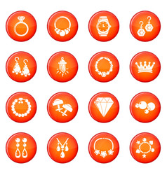 Jewelry shop icons set red vector