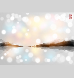 Landscape with islands traditional japanese ink vector