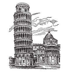 Leaning tower pisa most remarkable vector