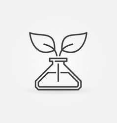 leaves in conical flask concept icon in vector image
