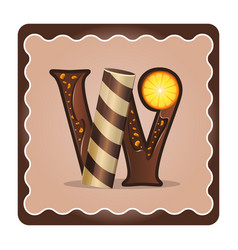 Letter w candies vector
