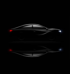 Lightened car darkness realistic reflection vector