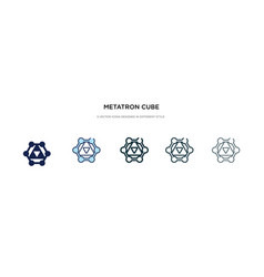 Metatron cube icon in different style two vector