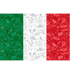mexican flag background with mexico culture icons vector image