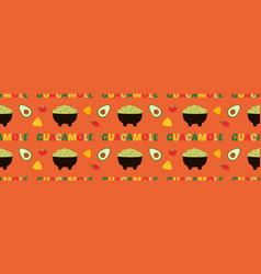 Mexican guacamole dip spread pattern vector