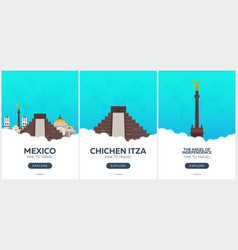 mexico time to travel set of travel posters vector image