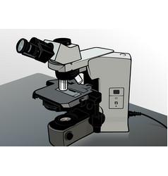 Microscope at laboratory desk vector