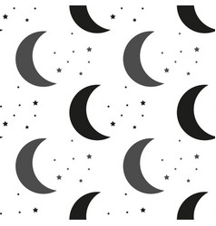 moon and stars black and white vector image
