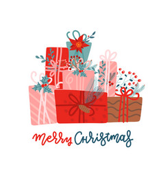 mountain gifts for christmas and new year vector image