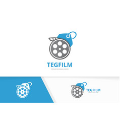 movie and tag logo combination cinema and vector image