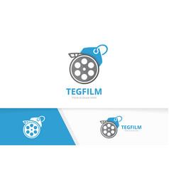 Movie and tag logo combination cinema vector