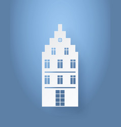 Multi storey house made of white paper isolated vector
